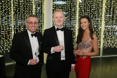 Press Eye - Belfast - 7th December 2017 -   Richard Elliott, Andrew Armstrong and Rosie Colgan pictured at the UTV Business Eye Awards in association with Emirates at the Belfast Waterfront.  Photo by Kelvin Boyes / Press Eye