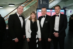Press Eye - Belfast - 7th December 2017 -   Harry Tregenna, Karen Douglas, Nigel Stronge and Scott Goldblatt pictured at the UTV Business Eye Awards in association with Emirates at the Belfast Waterfront.  Photo by Kelvin Boyes / Press Eye