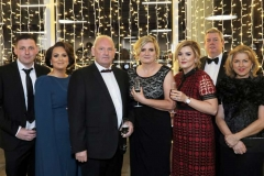 22 November 18, Mandatory Credit ©Press Eye/Darren Kidd    Connor, Emma, Brian, and Gloria McCloskey, Laura Dallat, Alan and Margaret Cunningham pictured at the Business Eye First Trust Bank Business Awards at the Belfast Waterfront.