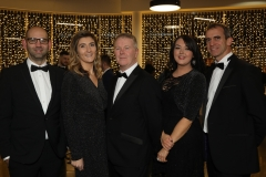 28 November 2019 Photo by Darren Kidd / Press Eye.    AIB Buisness Eye Awards 2019: Pictured are (L-R) Mark Whitehead, Katie McDonald, Gordon Burns, Rachel Doherty and Elwyn Agnew.