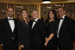 28 November 2019 Photo by Darren Kidd / Press Eye.    AIB Buisness Eye Awards 2019: Pictured are (L-R) Mark Whitehead, Katie McDonald, Gordon Burns, Rachel Doherty and Elwyn Agnew.