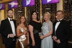 28 November 2019 Photo by Darren Kidd / Press Eye.    AIB Buisness Eye Awards 2019: Pictured are (L-R) Glenn Watterson, Kathryn O'Hagan, Robyn Butler, Caroline Glover and Chris Guy