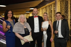 28 November 2019 Photo by Darren Kidd / Press Eye.    AIB Buisness Eye Awards 2019: Pictured are (L-R) Jolene O'Hare, Samantha Coleman , Connaire McGreevy, Lisa McGreevy and Darren McPolin.