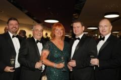 28 November 2019 Photo by Darren Kidd / Press Eye.    AIB Buisness Eye Awards 2019: Pictured are (L-R) Alan Wardlow, Colin Dudas, Judith Tottenham MBE, Drew Wilkinson and Aidan Dolan.