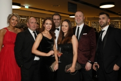 28 November 2019 Photo by Darren Kidd / Press Eye.    AIB Buisness Eye Awards 2019: Pictured are (L-R) Laura Johnston, Peter Harris, Bernie Hyland, David Wilson, Tracy O Toole, Keith Reilly and Dave Earle